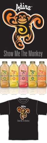 Adina beverages use monkey mascot and imprinted t-shirts to define brand