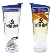 Insulated cup with ice compartment