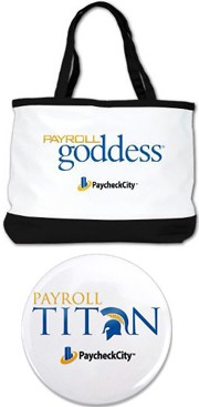 Payroll managers select from imprinted promotional items that point to their importance in an organization.