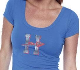 Rhinestones add sparkle to a shirt