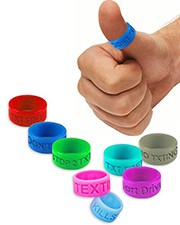 Thumb rings deliver a reminder to not text and drive.