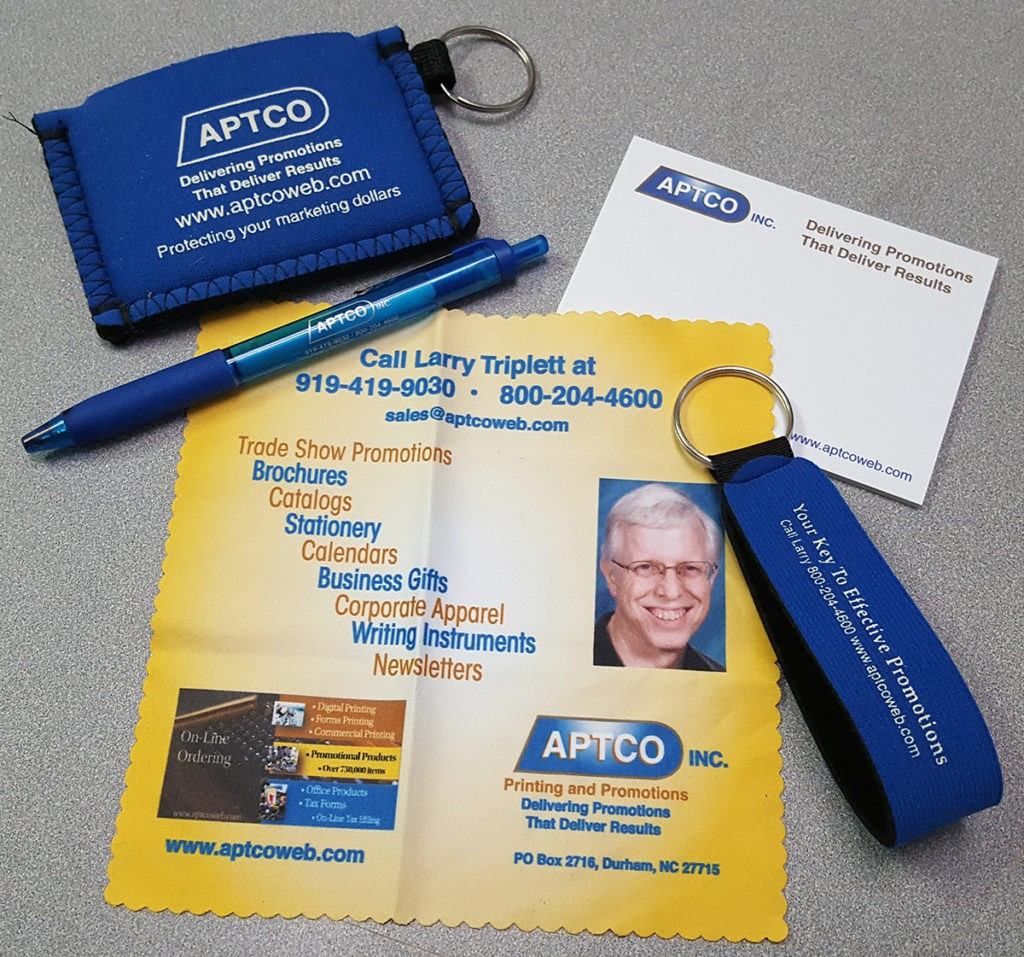 Microfiber cloths, Post-It notes, and pens can be effective branding tools.