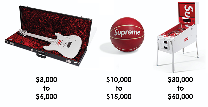 Supreme branded products up for auction