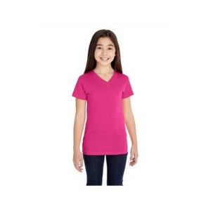 LAT Girls' V-Neck Fine Jersey T-Shirt