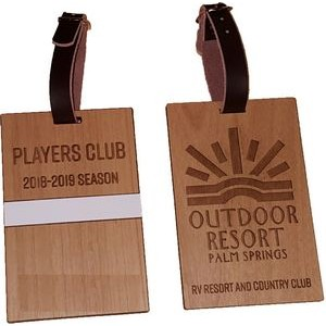 "3"" x 4"" - Laser Engraved Hardwood Bag Tag - USA-Made"