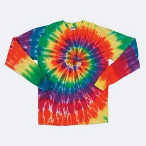 Dyenomite Youth Michelangelo Rainbow Spiral Long Sleeve Tee Shirt