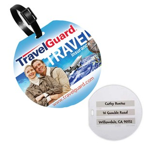 """Meteor"" Jumbo Round Write-On Surface Luggage Bag Tag w/Printed ID Panel (PhotoImage® Full Color)"