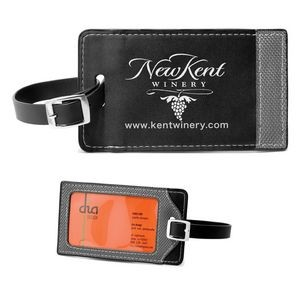 """Tomcat"" Two-Tone Leatherette Black & Gray ID Slip-In Luggage Bag Tag"