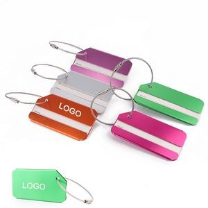 Aluminum Alloy luggage tag w/ stainless steel rope and screw connector