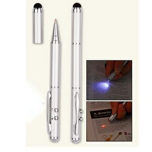 4-in-1 Executive Capacitive Stylus w/ Laser Pointer and LED Light