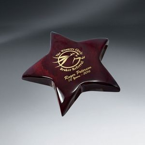 Rosewood Piano Finish Star Paperweight (Includes Gold Color-Fill)