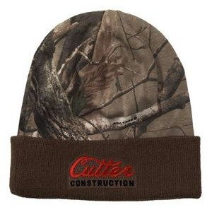 Camo Knit Rolled Beanie Cap