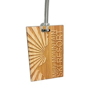 8 Square Inch Laser Etched Bamboo Bag Tag
