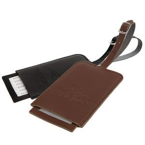 Classic Bond Leather Luggage Tag - Black