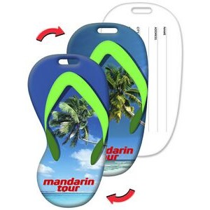 Luggage Tag / Flip-Flop Shape with Palm Tree Lenticular Design (Imprinted)