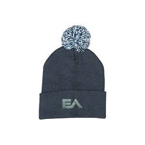 Knitted Beanie w/POM (Embroidered)