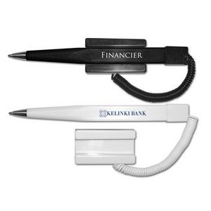 Financier Ballpoint Pen Coil Cord w/Stick-On Base - Blue Ink