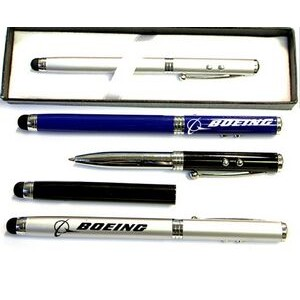 Metal Pen with Laser Pointer, LED Light & Stylus in Gift Box