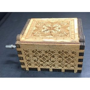 Wood Music Box With Hand Crank