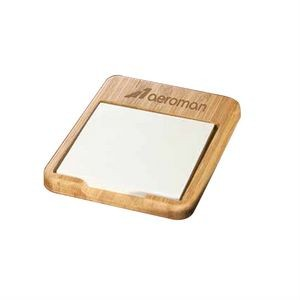 "Bamboo Desk Note Holder w/3""x3"" Note Pad"