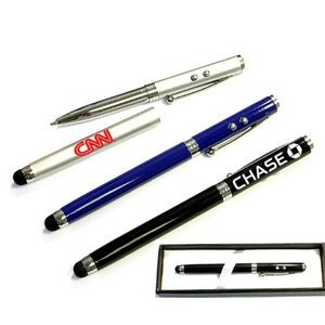 Ballpoint pen with LED/pointer and stylus and gift case