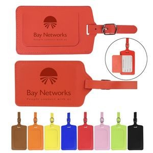 Flip Open PU Leather Luggage Tag