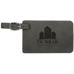 4.25x2.75 Gray Leatherette Luggage Tag