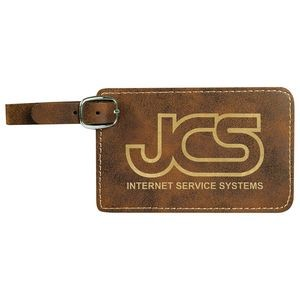 "4.25x2.75"" Rustic/Gold Leatherette Luggage Tag"