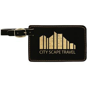 4.25x2.75 Leatherette Black/Gold Luggage Tag