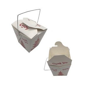 16 oz. Paper Take-Out Food Box w/Metal Wire Handle