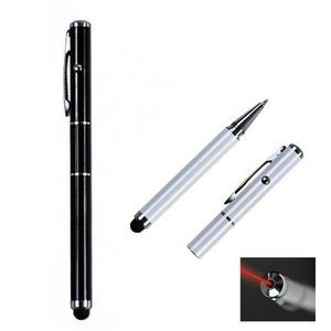 3-in-1 Laser Pointer Metal Cap Off Ballpoint Stylus Pen