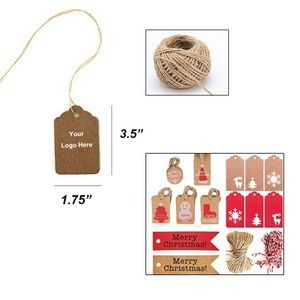 "Custom Shape Kraft Gift Price Labels & Tags w/ 8"" String"